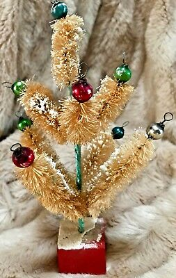 """Antique VTG 6"""" Mini Bottle Brush Feather Tree With Glass Christmas Ornaments"""