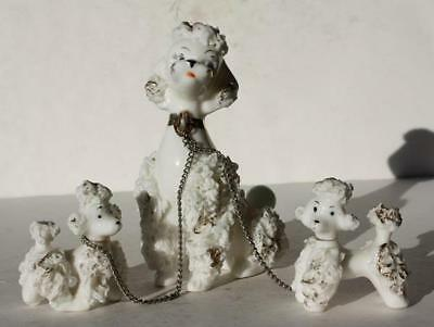 Poodle Dog Figures Set of 3 White French Poodle Dogs Chained Spaghetti-Gold-VTG
