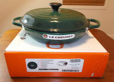 Le Creuset Signature Enameled Cast-Iron Braiser 3.5 QT CACTUS JUNIPER GREEN NIB