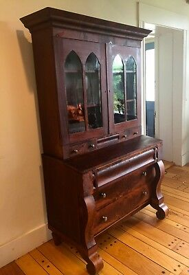 American Victorian Empire Flame Mahogany Secretary Desk~from museum