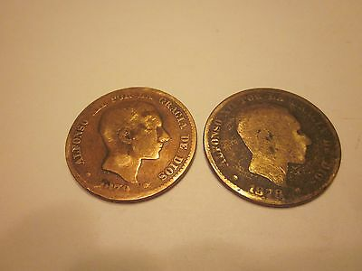 COINS SPAIN 1870's SPANISH EUROPEAN SET OF 2 COLLECTIBLES #706