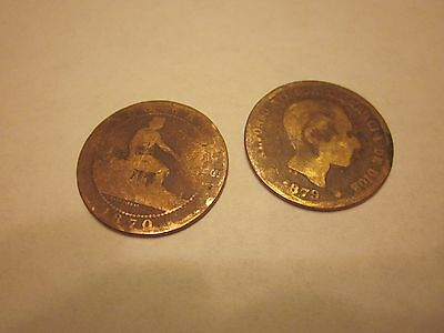 COINS SPAIN 1870's SPANISH EUROPEAN SET OF 2 COLLECTIBLES #710