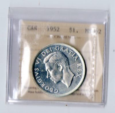 1952 No Water Lines Canada Silver Dollar Choice BU ICCS QM226