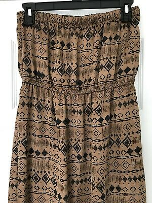 192d1d8c7f58 Everly Womens Aztec Strapless Black Brown Maxi Dress Elastic Gathered  Tribal S
