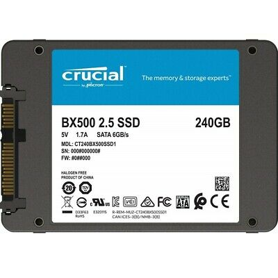 "Crucial BX500 240GB 2.5"" SATA SSD - 3D NAND 540/500MB/s 7mm Acronis True Image"