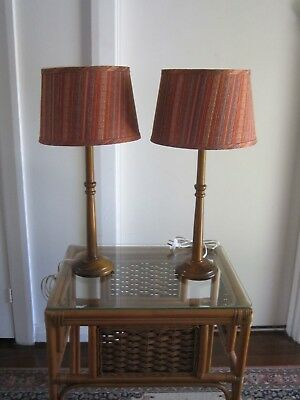 Wonderful Pair Vintage Retro Timber Table Lamps With Gorgeous Shades