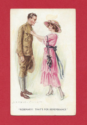Archie Gunn Ww1 Soldier Lady Patriotic Romance Antique Vtg Old Art Postcard Usa