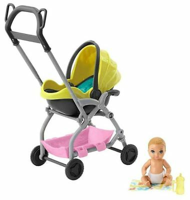 New Barbie~Skipper Babysitters Inc. Yellow  Stroller~Car seat~Baby & Accessories