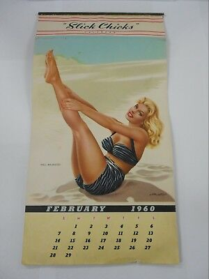 Original 1960 Slick Chicks Glamorous Girls Calendar / Missing January