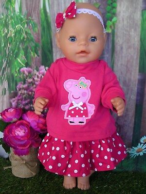 """Dolls clothes for 17"""" Baby Born doll~PEPPA PIG PINK TOP~SPOTTY SKIRT~HAIR BOW"""