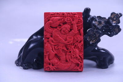 100% natural cinnabar exquisite chinese hand carving   statue