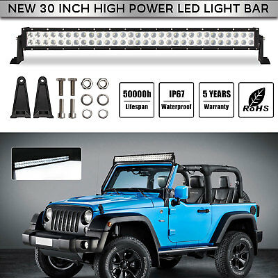 30inch 300W LED Work Light Bar Flood Spot Combo Driving Lamp Car Truck Offroad