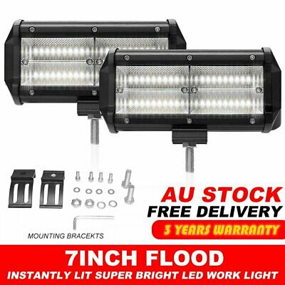 2x 7inch 360w LED Work Driving Light Bar CREE Flood OFFROAD 4WD UTE Truck Lamp