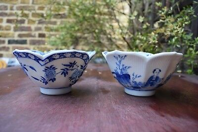 Chinese pair of blue and white bowls with figures barbed rim