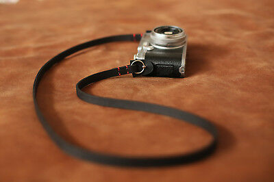 11mm black leather handmade camera neck shoulder strap | windmup