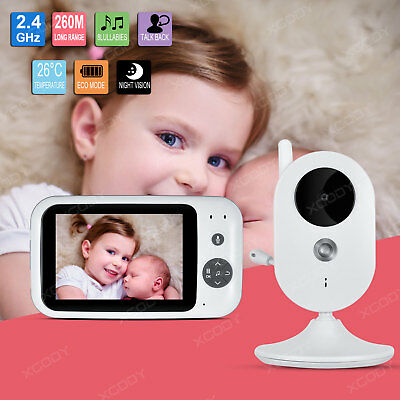 "Wireless 3.5"" LCD Play Digital Baby Monitor Video Camera Audio 2.4GHz Security"