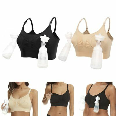 Women Hands Free Breast Feeding Pump Pumping Breastpump Maternity Nursing Bra HE