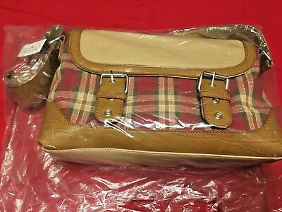 """Longaberger Homestead Pocketbook Tan And Red Plaid 12"""" X 8"""" Never Used"""