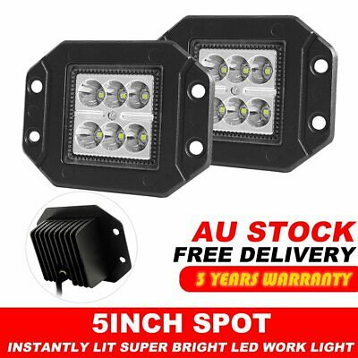 Pair 5 inch CREE Flush Mount LED Lights 12V 24V Reverse Work 6000LM Spot Beam