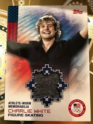 CHARLIE WHITE 2014 Topps Winter Olympics Athlete-Worn #OR-CW Figure Skating MT