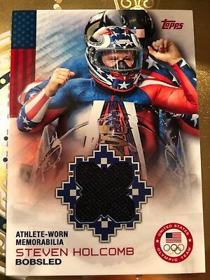 STEVEN HOLCOMB 2014 Topps Winter Olympics Athlete-Worn #OR-SH Bobsled MT A