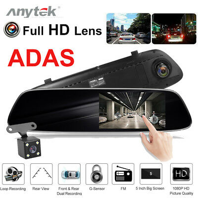 Anytek T33+ 5 Inch Car Rearview Mirror DVR Camera ADAS Dash Cam Video Recorder