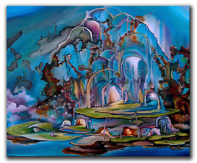 Original oil painting fantasy ABSTRACT ART BLUE landscape