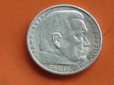 5 Reichs Mark Hindenburg 1936 A from the 3Reich, the Nazi era, with swastika