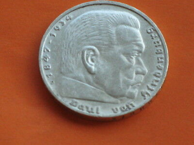 5 Mark 1936 D Hindenburg, only with Eagle from the 3 Reich, the Nazi era