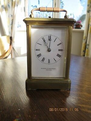 Vintage Brass Carriage Clock , repeater chime, Haddon & Franklin. Working , but