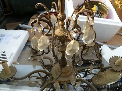 Spanish Brass Cast? Large 8 Arm w/ Heavy Crystals Vintage Antique Chandelier
