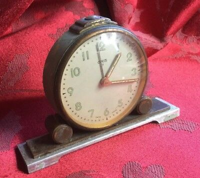 Early Brass Cased Oris Alarm Clock For Spares Or Repair Runs For A Bit