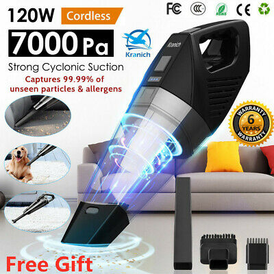 7000PA Handheld Cordless Car Vacuum Cleaner Wet&Dry Rechargeable Hoover Home Pet