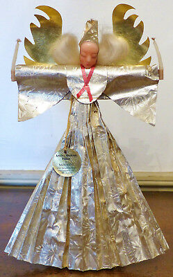 ANTIQUE Pretty VINTAGE Nuremberg Type Christmas ANGEL TREE TOPPER Wax FOIL