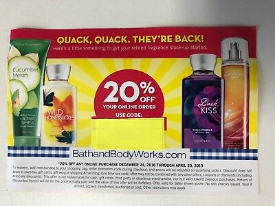 1, Bath and Body Works 20% off Online Coupon, Expires 4/20/2019