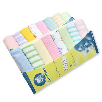 8pcs/Pack Baby Face Washers Hand Towel Cotton Wipe Feeding WashCloth