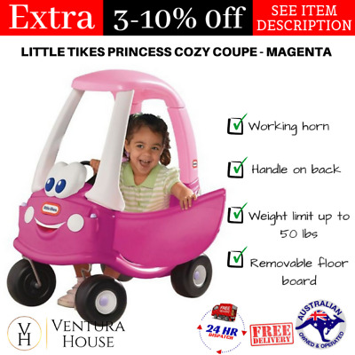 Little Tikes Trike Kids Princess Cozy Coupe Car Magenta Pink 50lbs High Seat New