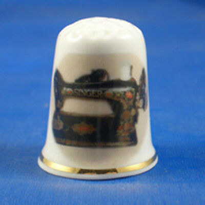 Birchcroft China Thimble -- Vintage Singer Sewing Machine -- Free Dome Gift Box