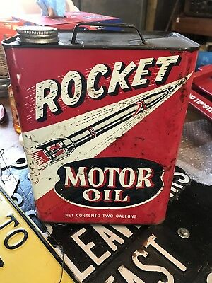 Vintage Rocket Motor Oil Can 2 Gallon Can Gas & Oil Collectors
