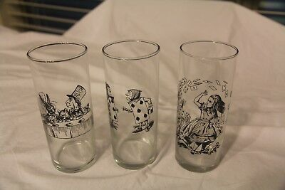 Alice In Wonderland Glassware, Set of 3 Mint Condition
