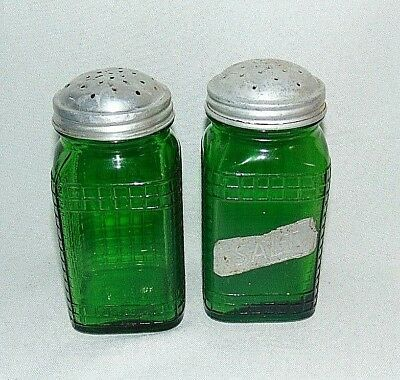 Owens Glass Salt and Pepper Shakers Stovetop Hoosier Green