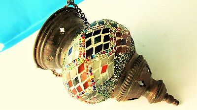 ANCIENT ANTIQUE BYZANTINE MOSAIC GLASS Hanging Oil Candle  Lamp