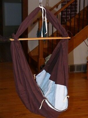 Baby Hammock Special Delivery Cotton Made in USA Hawaii Brown Blue