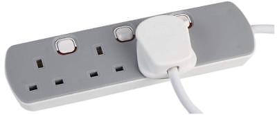 3 Gang Mains Extension Lead 3 Way UK GREY Power Sockets Switched 1m/2m/5m/10m