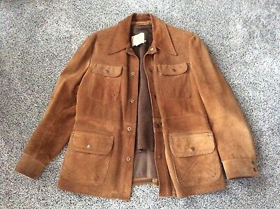 Vintage Berman's MEN'S Brown Suede Leather Jackson Hole Jacket Coat 42 R