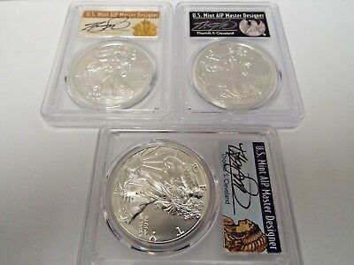 """3 Coin Set""2017 (S) $1 American Silver Eagle Struck at SF PCGS MS70 Cleveland"