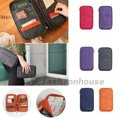 Family Passport Holder Document Organizer Travel Wallet Purse with Hand Strap AU