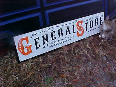 General Store Advertising Metal Sign Dry Goods Hardware 12 x 48