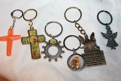 Lot of 6 vintage religious keychains Angel, cross, guardian angel metal L@@K