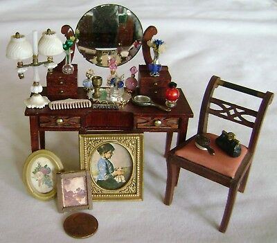 Vintage Dollhouse Block House Empire Dressing Table  & Accessories